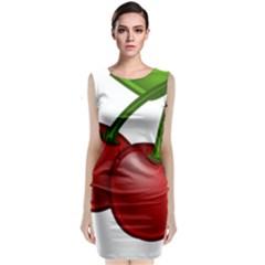 Cherries Sleeveless Velvet Midi Dress