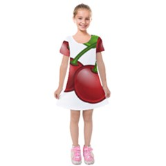 Cherries Kids  Short Sleeve Velvet Dress