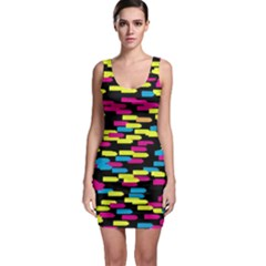 Colorful strokes on a black background             Bodycon Dress