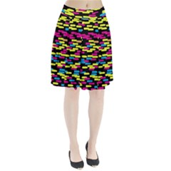 Colorful strokes on a black background         Pleated Skirt