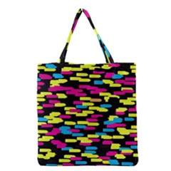 Colorful strokes on a black background             Grocery Tote Bag
