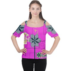 Flowers and squares              Women s Cutout Shoulder Tee