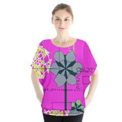 Flowers and squares                 Batwing Chiffon Blouse