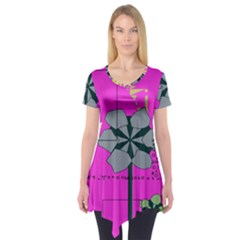 Flowers and squares         Short Sleeve Tunic
