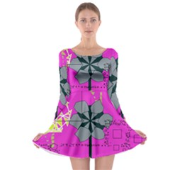 Flowers and squares              Long Sleeve Skater Dress
