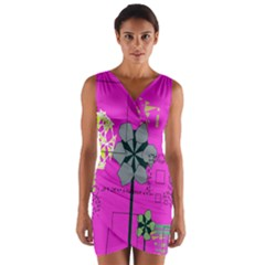 Flowers and squares                 Wrap Front Bodycon Dress