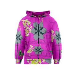 Flowers and squares              Kids Zipper Hoodie