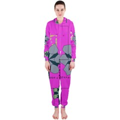 Flowers and squares              Hooded Jumpsuit (Ladies)