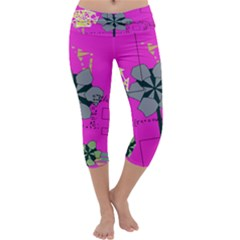 Flowers and squares               Capri Yoga Leggings