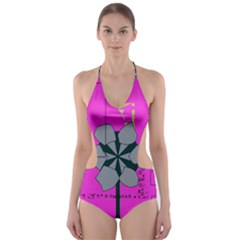 Flowers and squares              Cut-Out One Piece Swimsuit