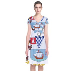 Coat of Arms of Belfast  Short Sleeve Front Wrap Dress
