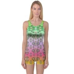 Summer Bloom In Festive Mood One Piece Boyleg Swimsuit