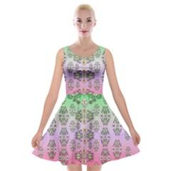 Summer Bloom In Festive Mood Velvet Skater Dress