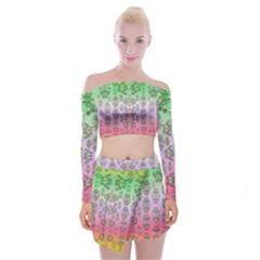 Summer Bloom In Festive Mood Off Shoulder Top With Skirt Set