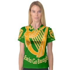 Erin Go Bragh Banner Women s V-Neck Sport Mesh Tee