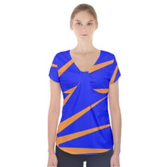 Sunburst Flag Short Sleeve Front Detail Top