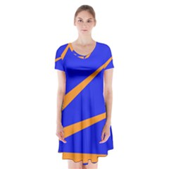 Sunburst Flag Short Sleeve V-neck Flare Dress