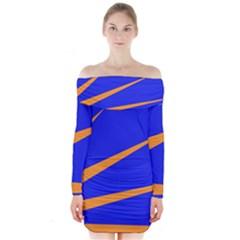Sunburst Flag Long Sleeve Off Shoulder Dress