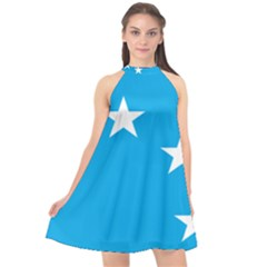 Starry Plough Flag Halter Neckline Chiffon Dress