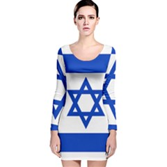 Flag of Israel Long Sleeve Velvet Bodycon Dress
