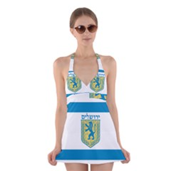 Flag of Jerusalem Halter Swimsuit Dress
