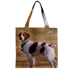 Brittany Spaniel Full Zipper Grocery Tote Bag