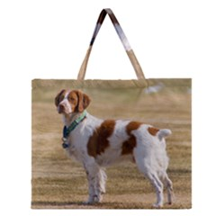Brittany Spaniel Full Zipper Large Tote Bag