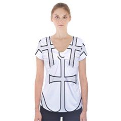 Anchored Cross Short Sleeve Front Detail Top