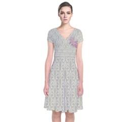 Ganja Pink Short Sleeve Front Wrap Dress