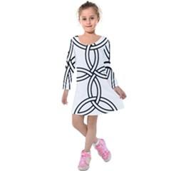 Carolingian Cross Kids  Long Sleeve Velvet Dress