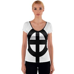 Celtic Cross Women s V-Neck Cap Sleeve Top