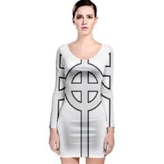 Celtic Cross  Long Sleeve Bodycon Dress