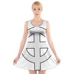 Celtic Cross  V-Neck Sleeveless Skater Dress