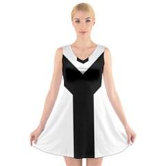 Forked Cross V-Neck Sleeveless Skater Dress
