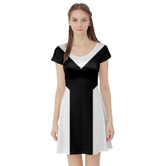 Forked Cross Short Sleeve Skater Dress