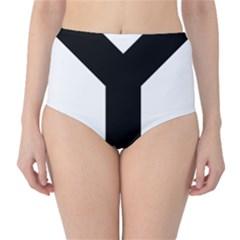 Forked Cross High-Waist Bikini Bottoms