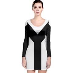 Forked Cross Long Sleeve Velvet Bodycon Dress