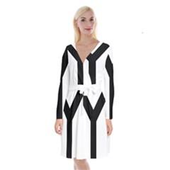 Forked Cross Long Sleeve Velvet Front Wrap Dress
