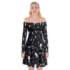 Elvis Presley Pattern Off Shoulder Skater Dress