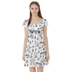 Elvis Presley pattern Short Sleeve Skater Dress
