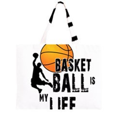 Basketball is my life Zipper Large Tote Bag