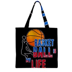 Basketball is my life Zipper Grocery Tote Bag