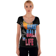 Basketball is my life Women s V-Neck Cap Sleeve Top