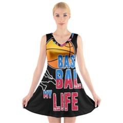 Basketball is my life V-Neck Sleeveless Skater Dress