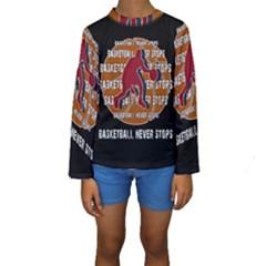 Basketball never stops Kids  Long Sleeve Swimwear