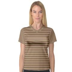 Decorative lines pattern Women s V-Neck Sport Mesh Tee