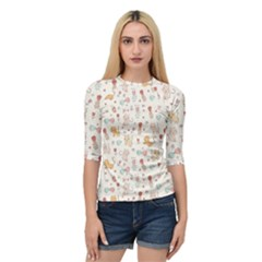 Kittens And Birds And Floral  Patterns Quarter Sleeve Tee