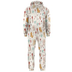 Kittens and birds and floral  patterns Hooded Jumpsuit (Men)