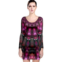 Pink Vortex Half Kaleidoscope  Long Sleeve Bodycon Dress