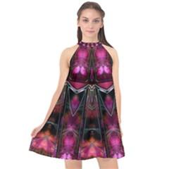 Pink Vortex Half Kaleidoscope  Halter Neckline Chiffon Dress